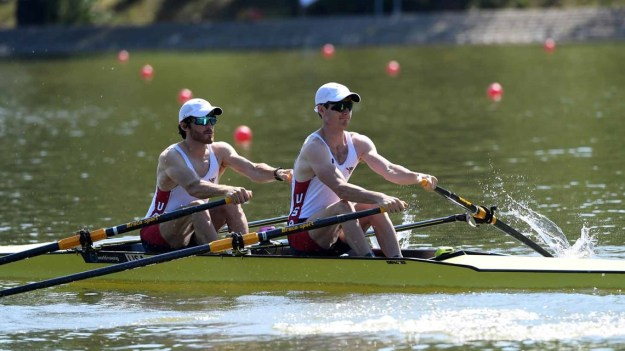 Danny Madden and Galen Bernick rowing for Team USA in Plovdiv, Bulgaria