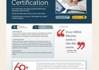 PSCA Fiduciary Training Site – Home Page, Alternate Sidebar
