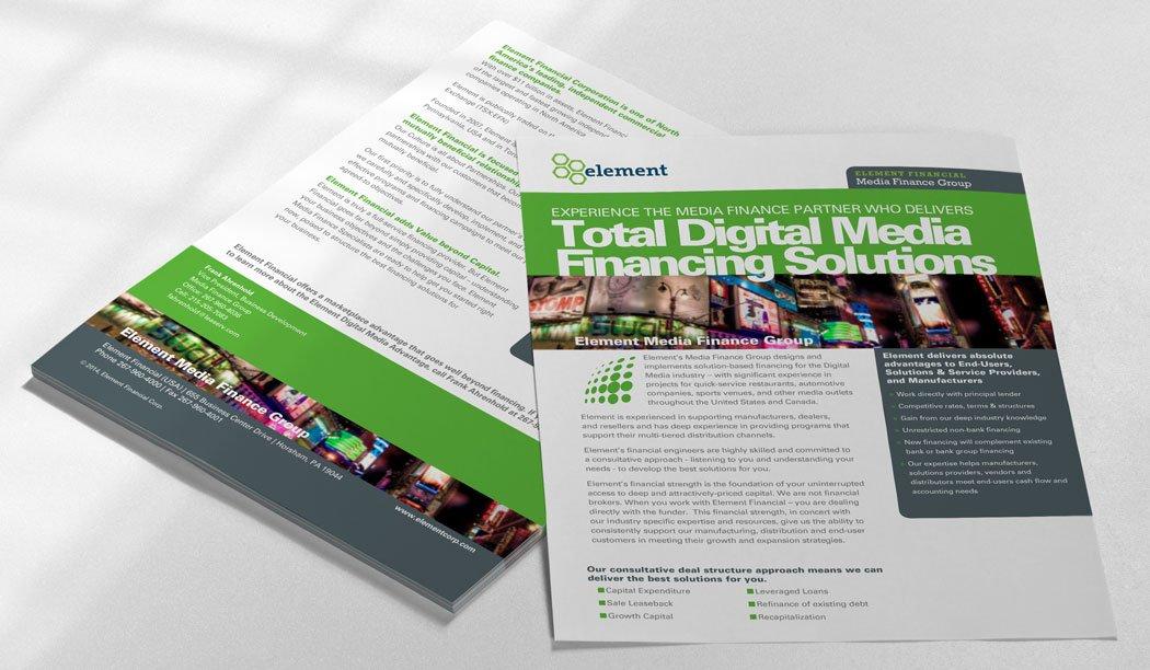 Element Media Finance Flyer