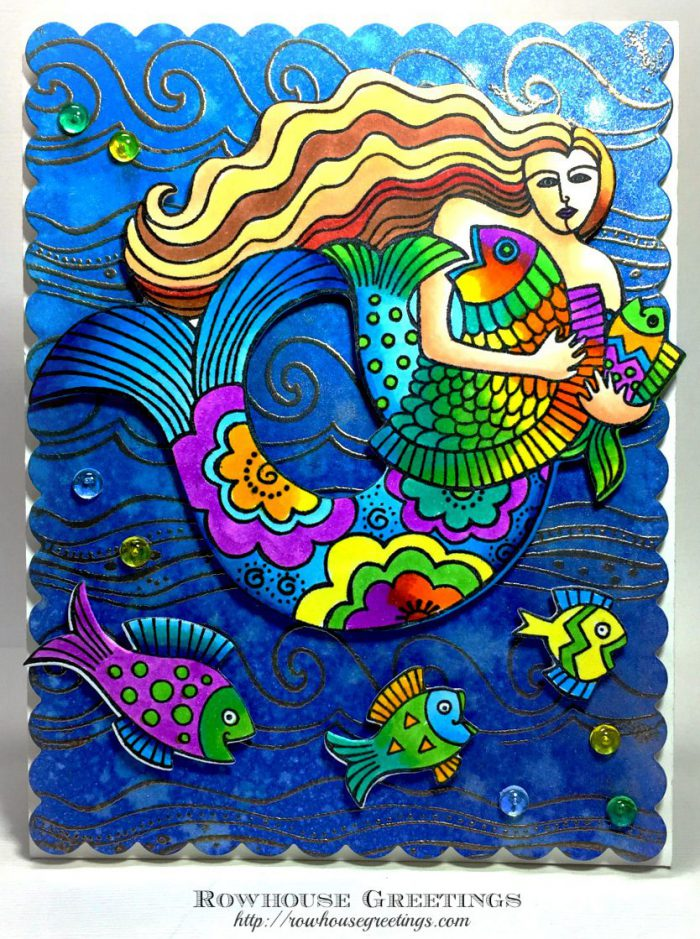 Rowhouse Greetings | Laurel Burch Mermaid by Stampendous!