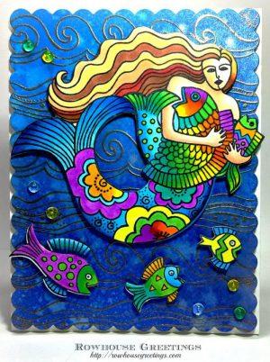 Rowhouse Greetings | Laurel Burch Mermaid by Stampendous!