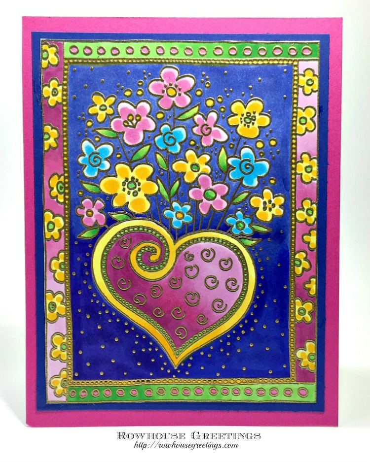 Rowhouse Greetings | Laurel Burch Heart Bouquet by Stampendous