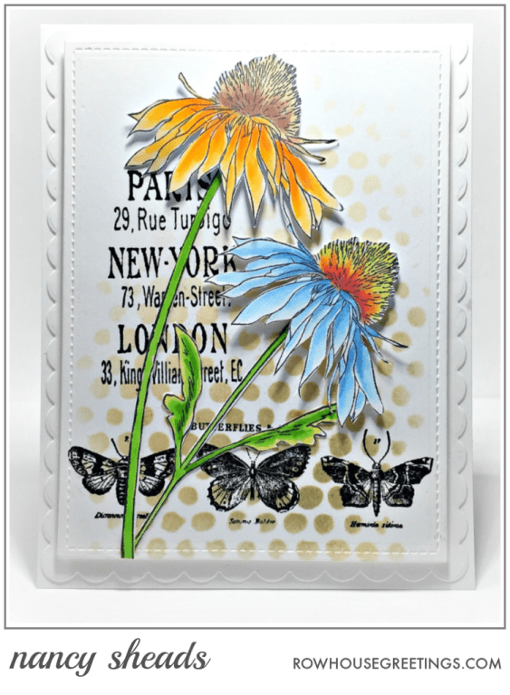 Rowhouse Greetings   Stampers Anonymous Tim Holtz Flower Garden