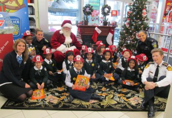 Our Grade 1C class at the Toys for Tots Launch 2013 with Peel Police Officers, Peel Chief of Police Jennifer Evans and Santa…of course!!