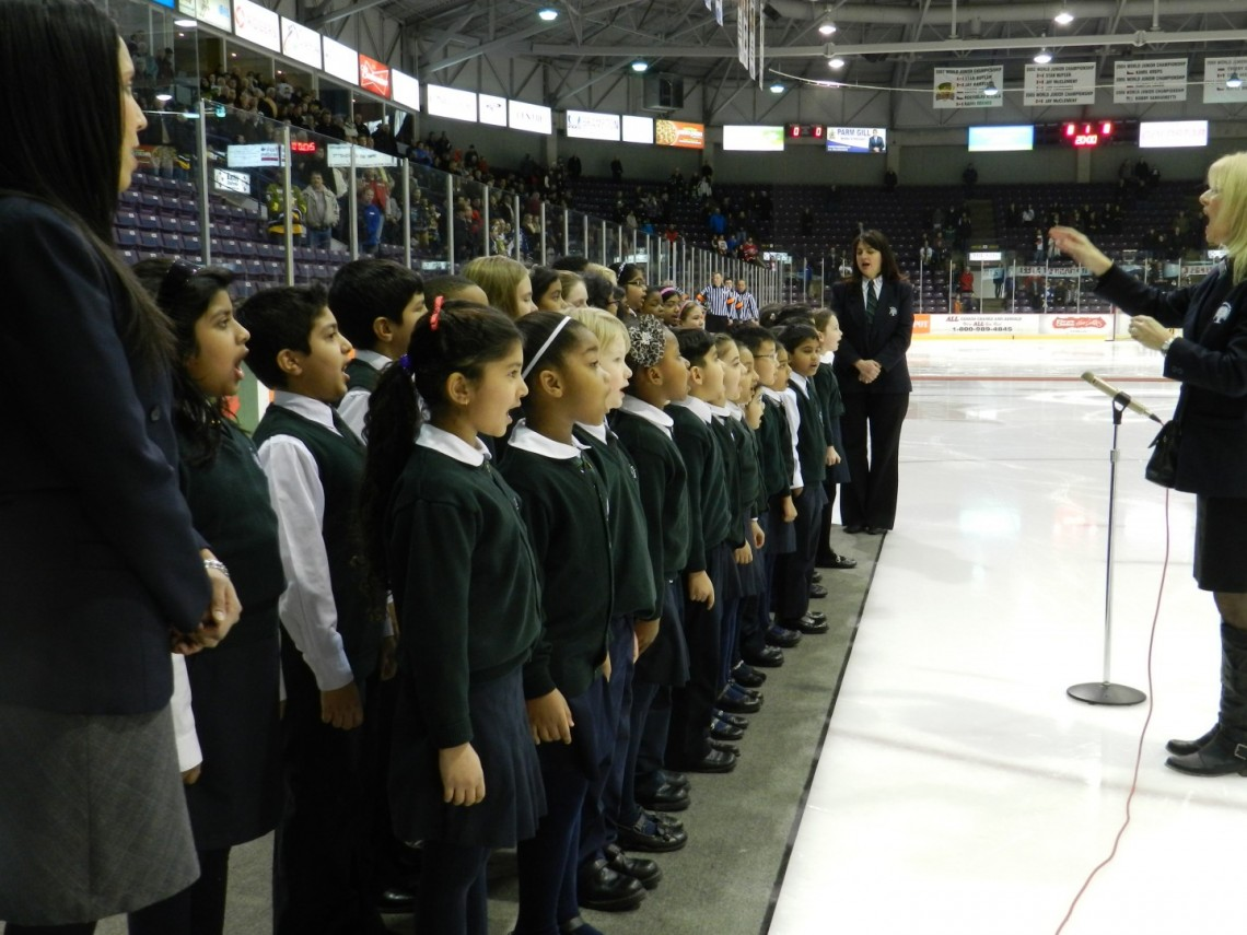 RMS Choir singing the Canadian National Anthem