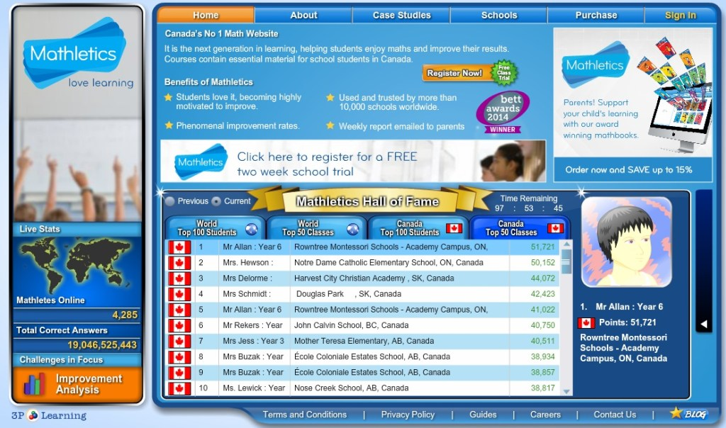 Rowntree Mathletics score in the first 2 weeks of use. The Grade 6's were number one in Canada!