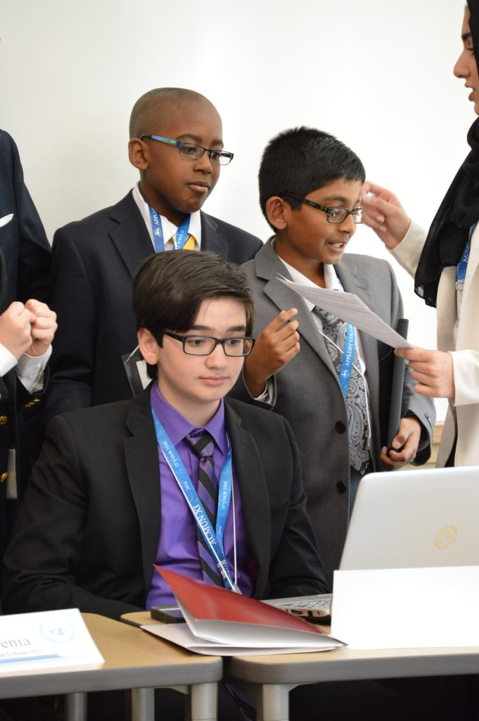 The students working hard at the MUN Conference