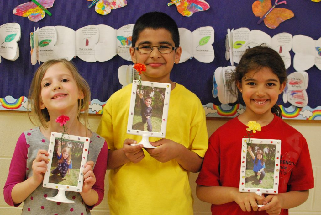 Students designed personalized picture frames for their Moms