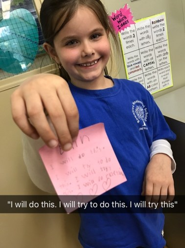 Student showing her positive growth mindset at RMS private school