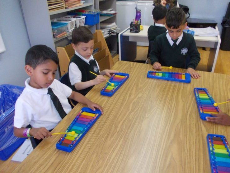 Children at RMS Private School Playing music on Xylophones
