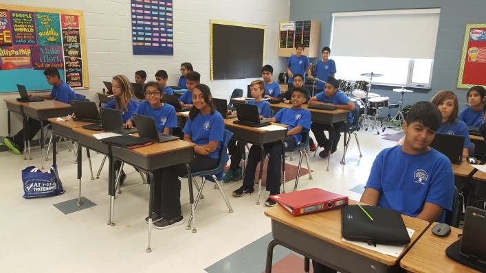 RMS Private school students in Brampton using their new chromebooks in class
