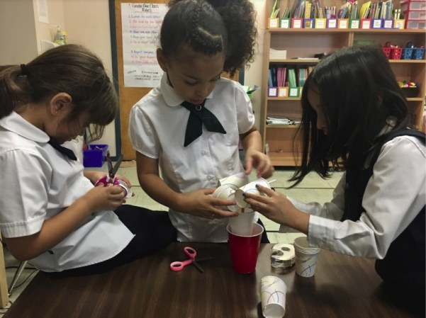 RMS private school Grade 1 students in Brampton building an instrument to measure the wind