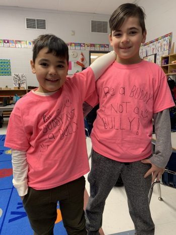 Students made a pink anti-bullying shirt