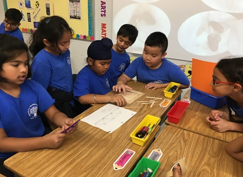 Students collaborating on solving a real-world problem using science, technology, engineering and math