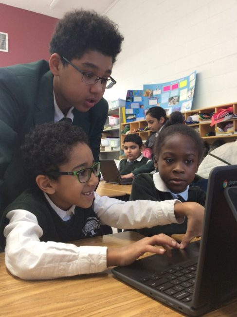 Students at RMS private school in Brampton are working on a robotics project on a Google Chromebook in Brampton