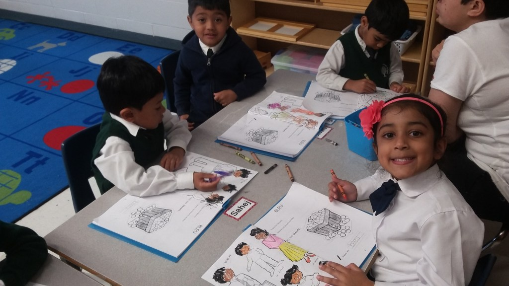 Students in French class at Rowntree Montessori Schools Private school in Brampton
