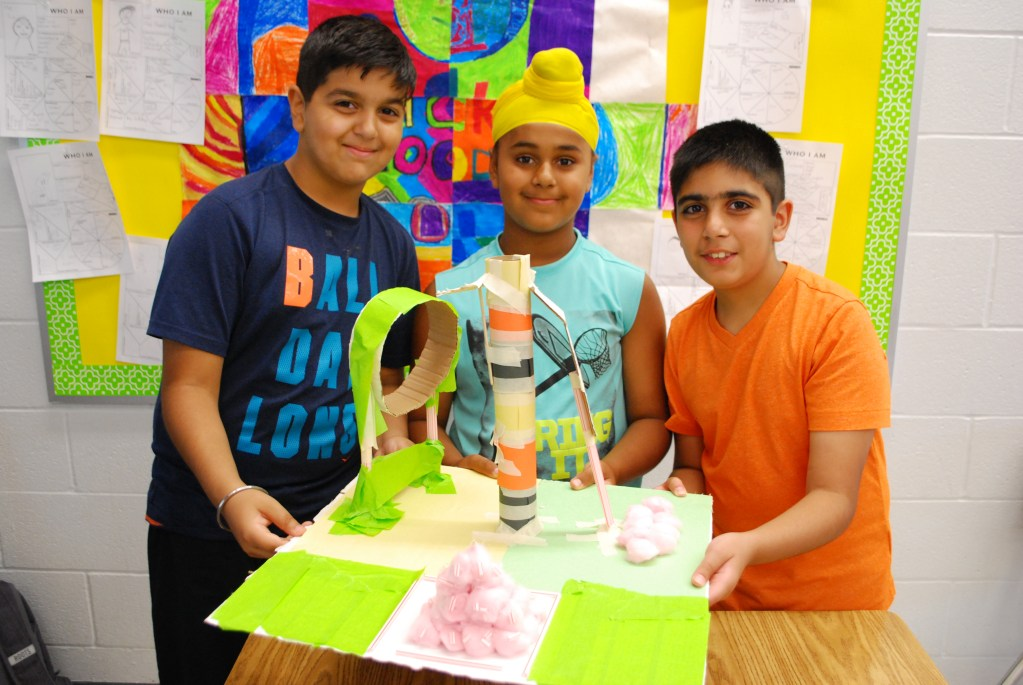 Students at RMS Brampton Summer Camp working on an engaging STEM activity.