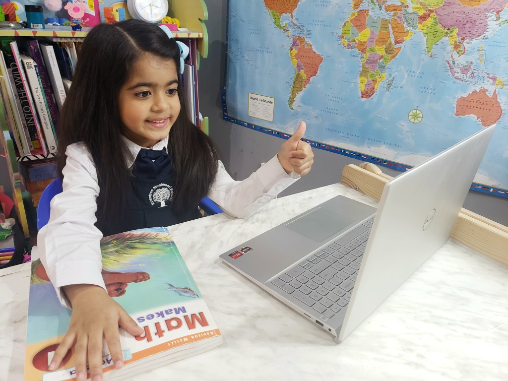 An RMS student working on math