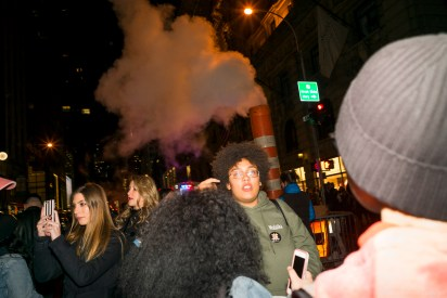 Photograph of protesters on 5th Ave on the weekend after elections made at night on 2016 11 12.