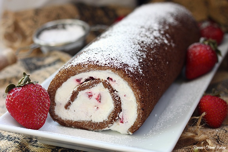 Chocolate strawberry roll cake recipe