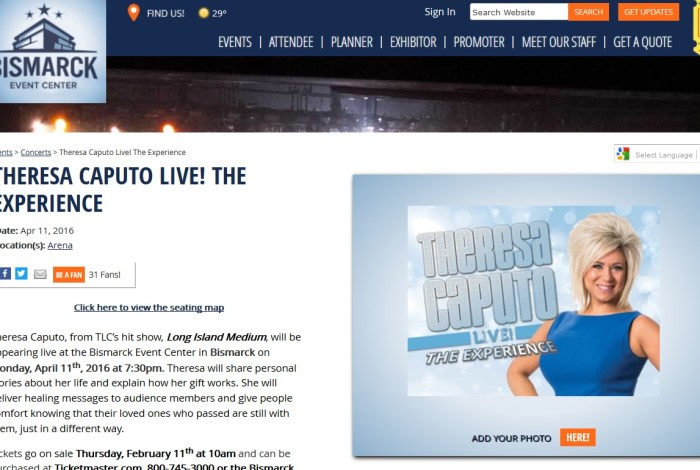 Theresa Caputo in North Dakota: A conundrum