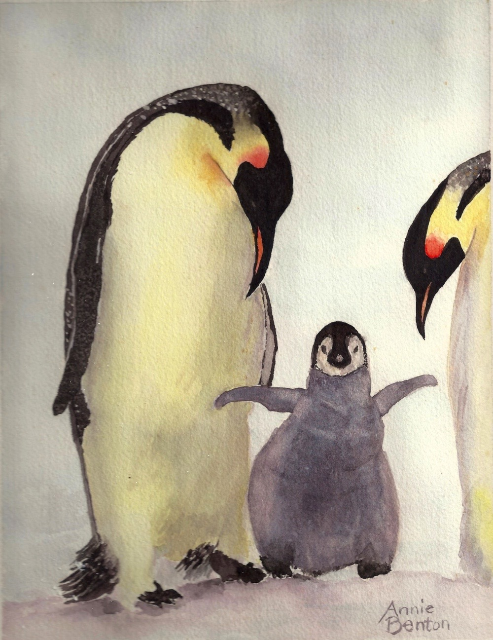 Roxanne Darling, Penguin Family from Nat Geo, watercolor, 8x10.5