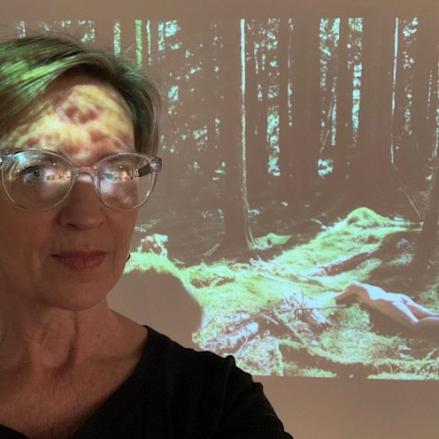 photo from roxanne darling solo show - self portrait with video