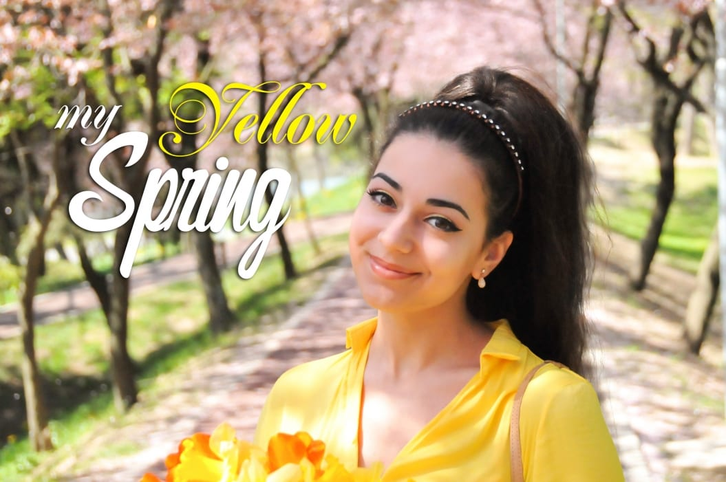 yellow outfit makeup spring blog romania fashion top popular timisoara galben flori bluza galbena narcise lalele tulips daffodils
