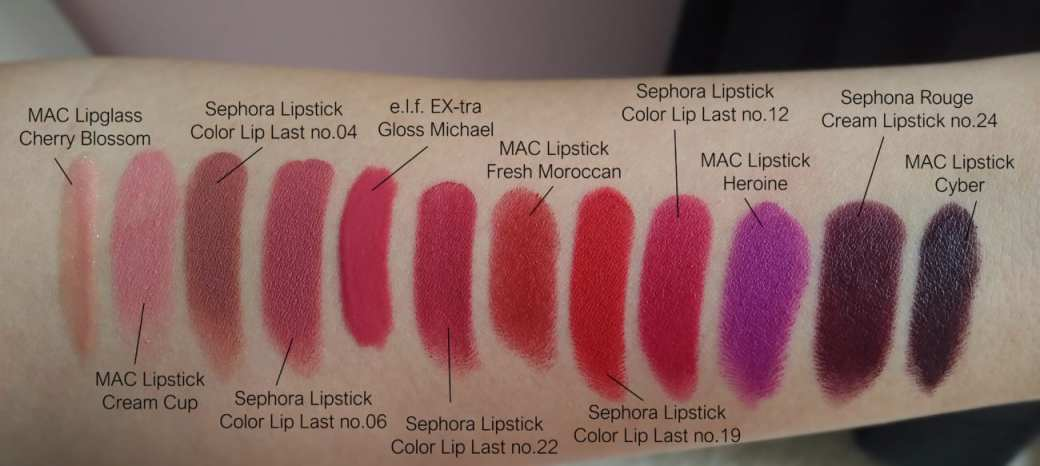 Left to Right SWATCHES: MAC Cherry Blossom, MAC Creme Cup, Sephora no.04 Brown is Back, Sephora no.06 Blooming Rose, elf EX-tra Michael, Sephora no.22 Burgundy Spirit, MAC Fresh Moroccan, Sephora no.19 Pure Red, Sephora no.12 Royal Raspberry, MAC Heroine, Sephora Bewitch me, MAC Cyber. Swatches review pareri blog beuaty blog romania