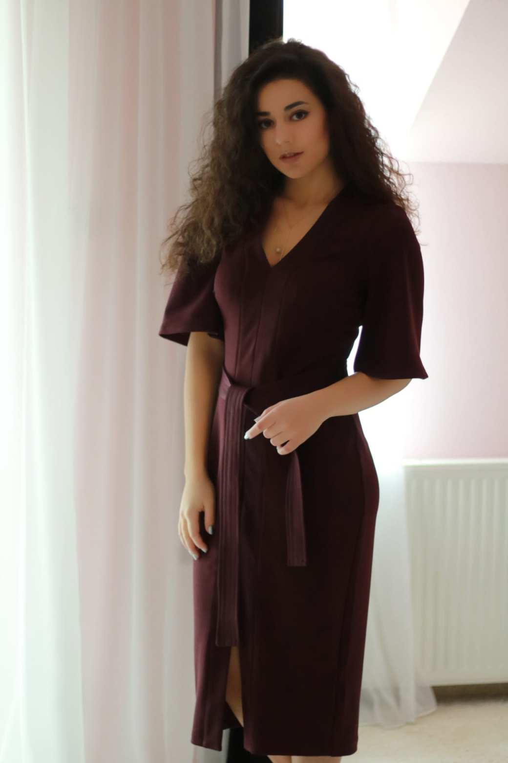 rochie visinie dama burgundy dress womanfashion.ro calitate quality material
