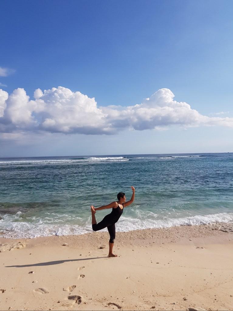 Dancer's pose on Gili Meno Island in Indonesia