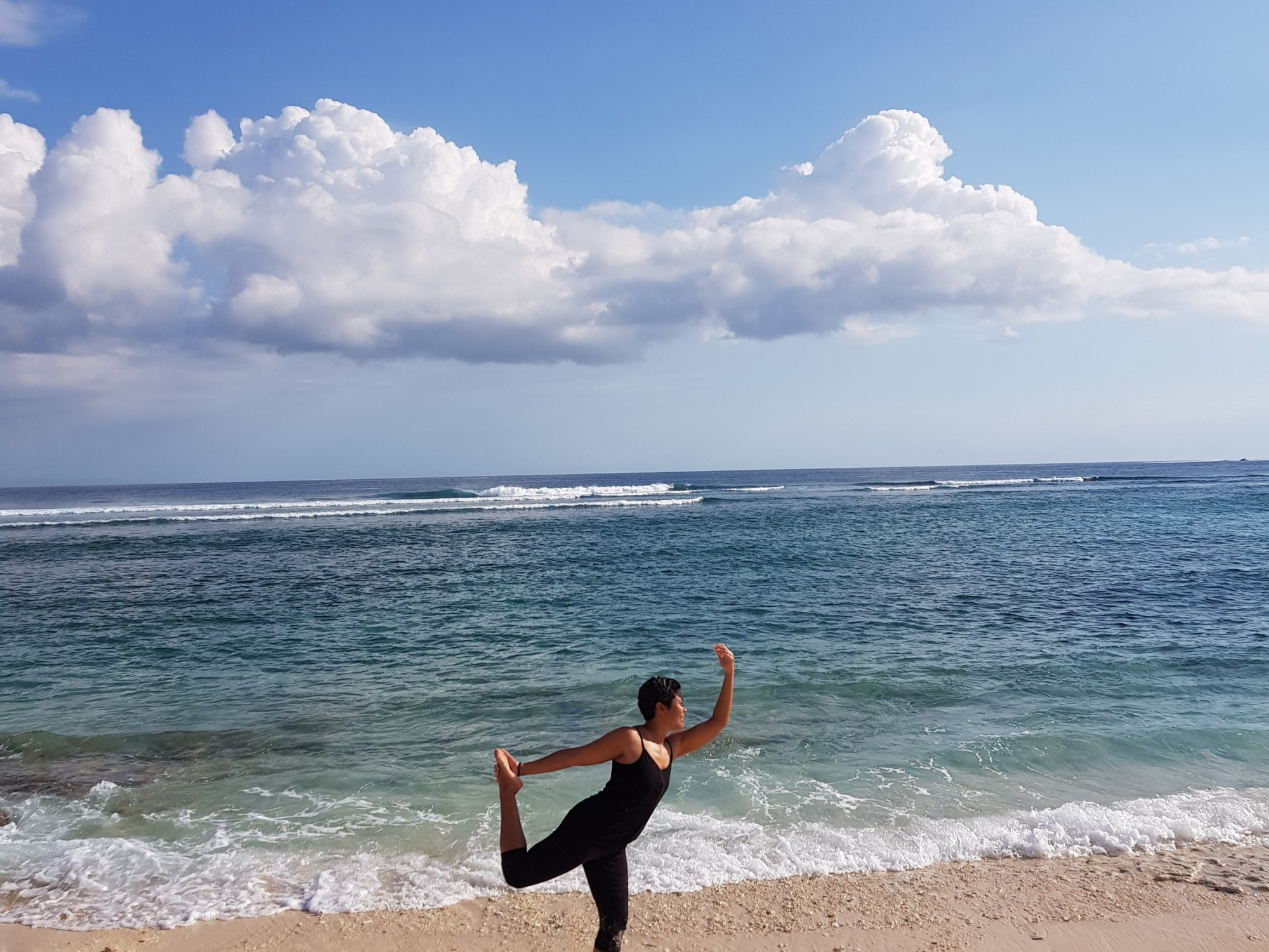 Dancer's pose on Gili Meno Island in Indonesia