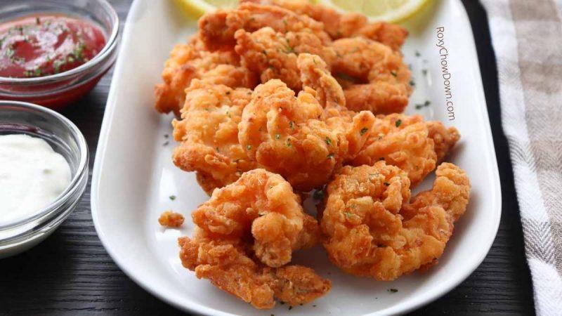 Easy Crispy Fried Popcorn Shrimp Recipe - by RoxyChowDown.com