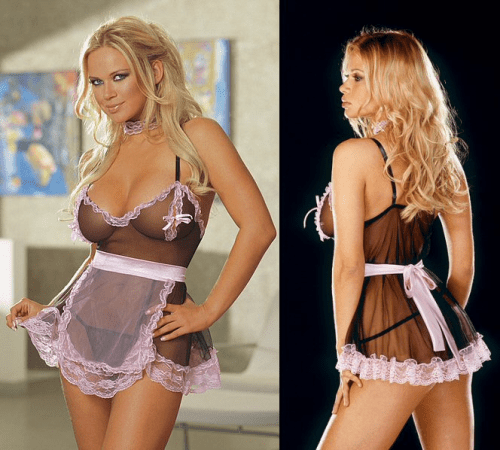SHEER PLUS SIZE FRENCH MAID DRESS COSTUME Roxy Styles