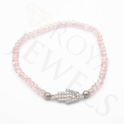 Evil Eye Heart Bracelet Transparent Rose Cubic Zirconia