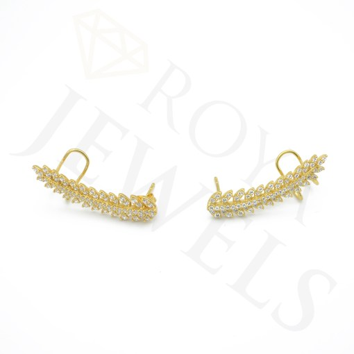 14k Gold Leaf Branch Ear Climbers Cubic Zirconia Sterling Silver