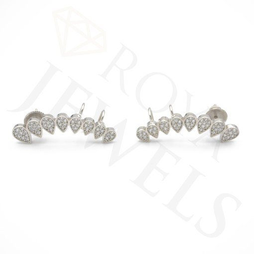 Pear Shaped Micropavé Ear Climbers White Cubic Zirconia Sterling Silver
