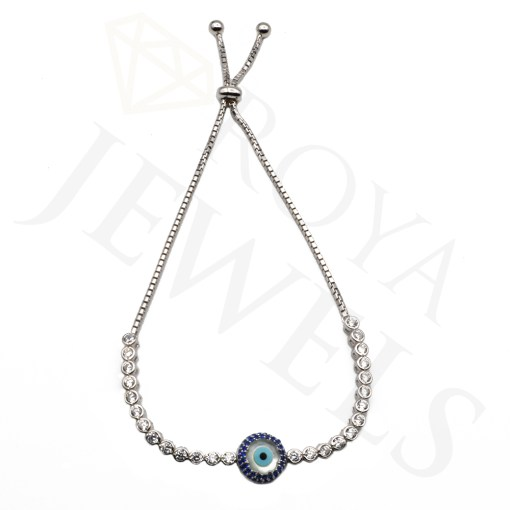 Evil Eye Mother of Pearl Tennis Bracelet Evil Eye Silver Bracelet Roya Jewels