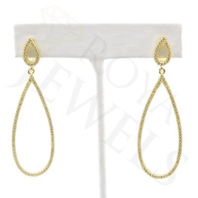 Open Teardrop Micropavé Drop Earrings earr Gold Roya Jewels