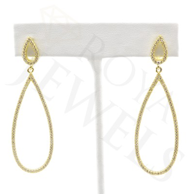 Open Teardrop Micropavé Drop Earrings earr Gold Roya Jewels