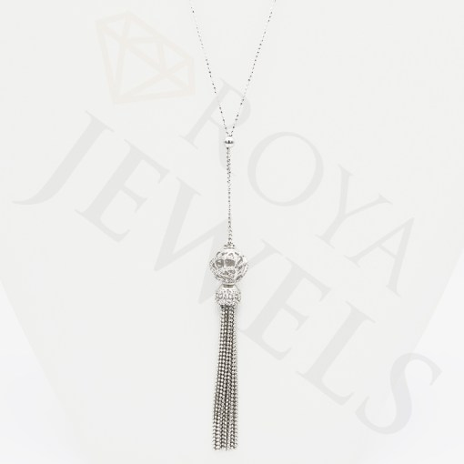 Tassel Necklace - Sterling Silver Cubic Zirconia - Roya Jewels