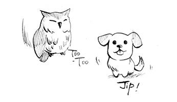 ドリトル先生, アフリカゆき, Doctor Dolittle, Jip, Too-Too, フクロウ, 犬, 動物, animals, ジップ, dog, owl