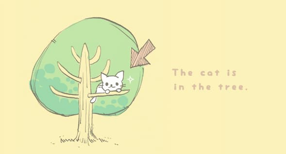 絵で読む英語, First Steps in Reading English, ラダーシリーズ, ladder series, 英語多読, Level 1, レベル1, The cat is in the tree, on, 違い