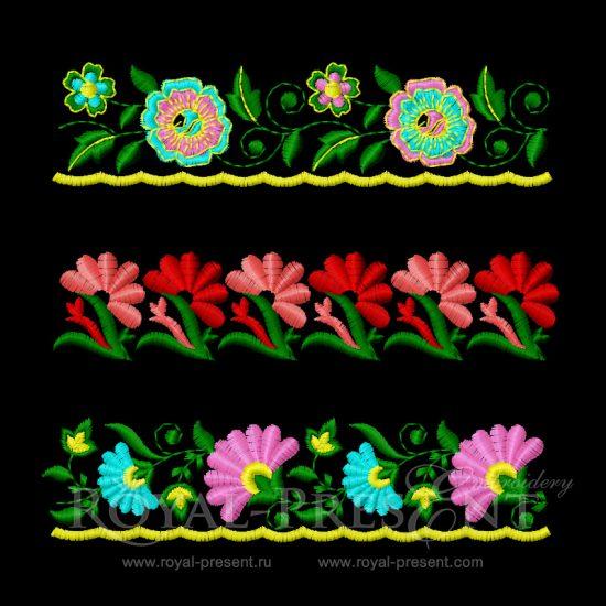 Набор дизайнов машинной вышивки Элементы для вышивки бордюров