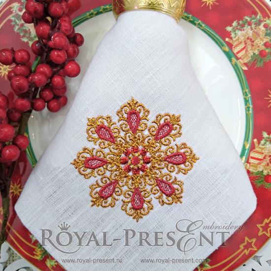 Дизайн для машинной вышивки Винтажная снежинка