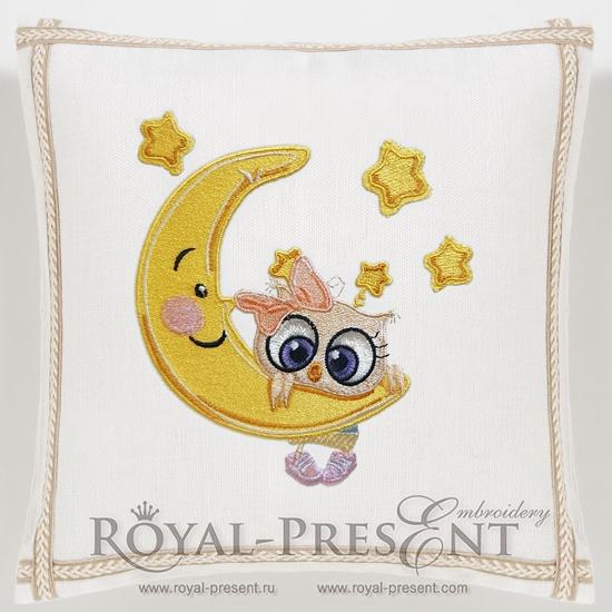Дизайн машинной вышивки Девочка Совенок на луне - 3 размера