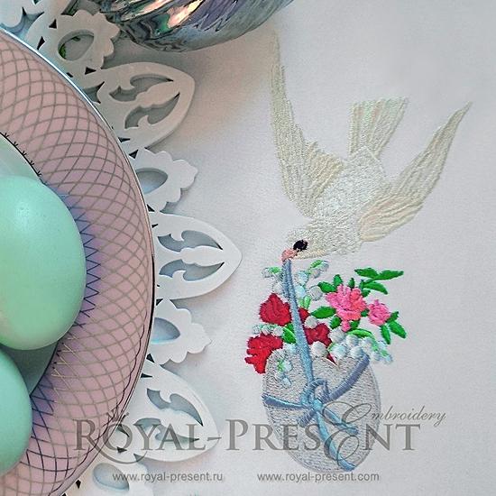 Дизайн машинной вышивки Пасхальный голубь