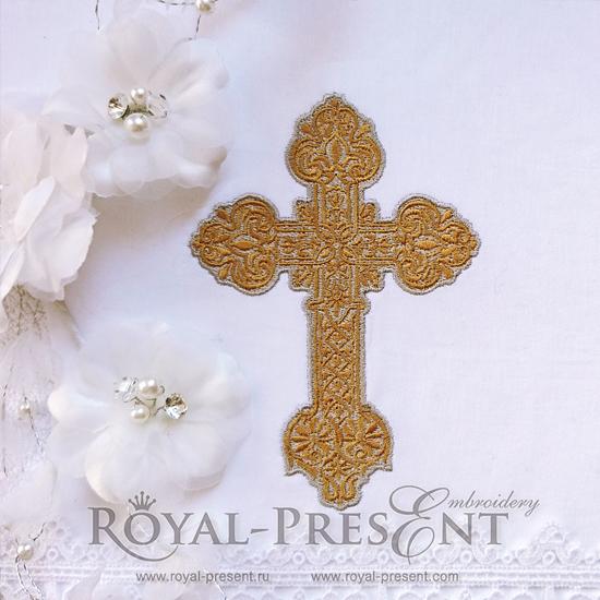 Дизайн машинной вышивки Красивый декоративный крест - 2 размера