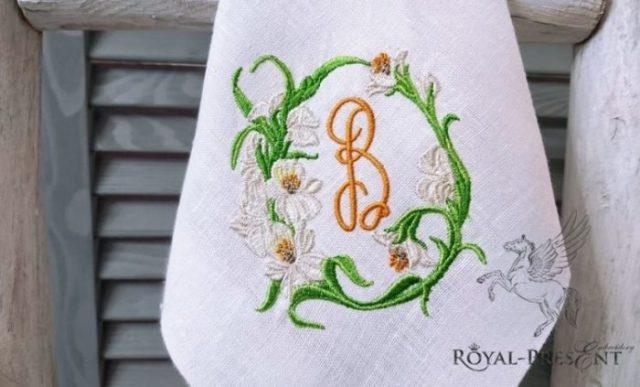Дизайн машинной вышивки Цветочная виньетка