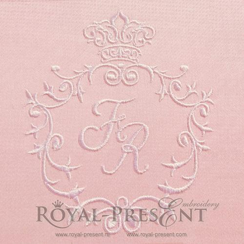 Дизайн для машинной вышивки Обрамление для монограммы с короной
